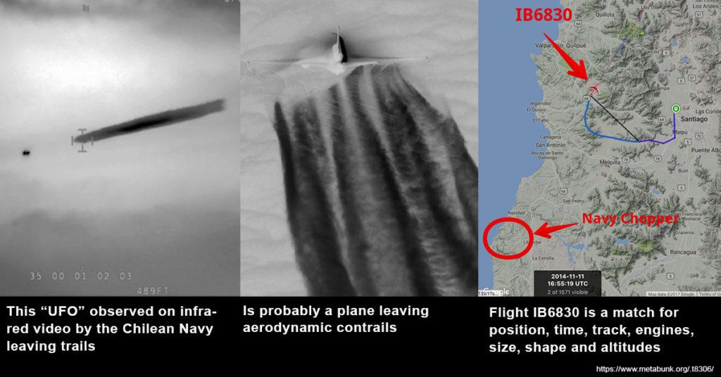 """Este """"OVNI"""" observado en infrarrojo por la Armada de Chile es probablemente un avión con estela aerodinámicas. El vuelo IB6830 coincide en posición, tiempo, trayectoria, tamaño de turbinas, forma y altitud."""
